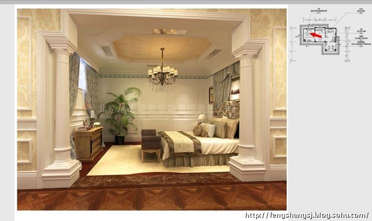 美式奢华联排别墅样板间卧室效果-带有丰富造型和线条层次的体量壁高清图片