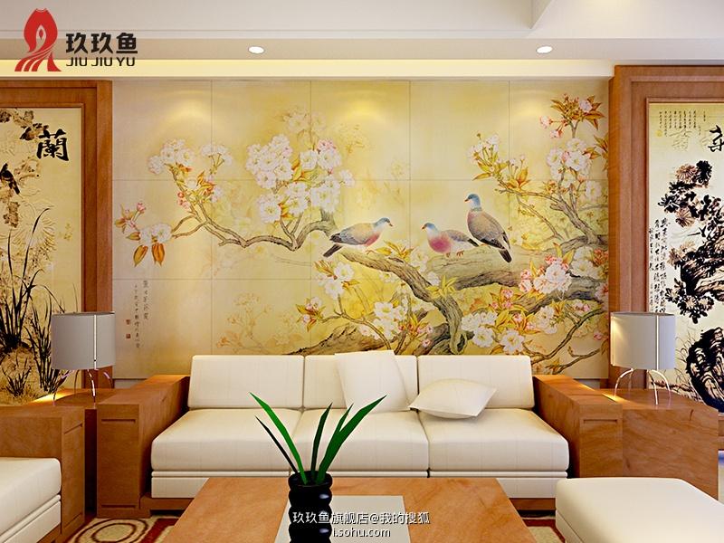 2013瓷砖艺术背景墙沙发背景墙效果图