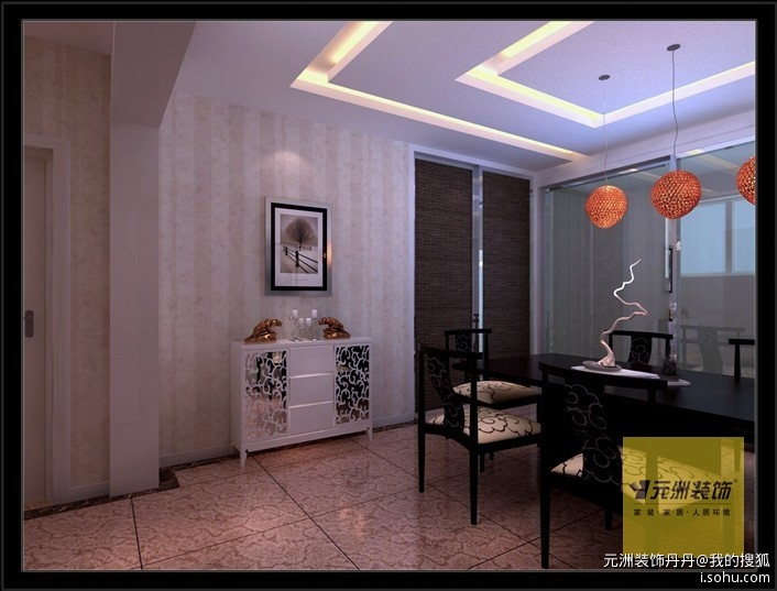 餐厅:通过墙面条形壁纸和回字吊顶的承托把多重风格