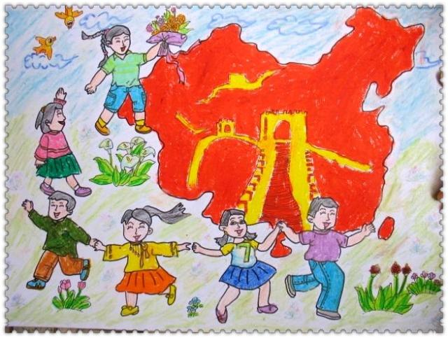 可爱的祖国绘画作品选登