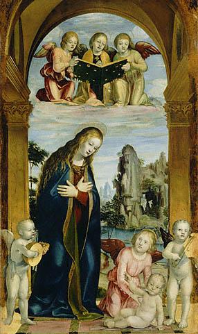 品的内容还涉及耶稣基督受难和被钉在十字架上的题材.例如下图,