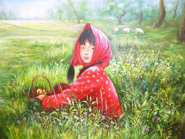 采蘑菇的小姑娘好可爱.