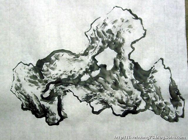 石头与石榴树画展示