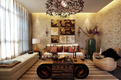 自然景色绝佳,而东南亚风格又属于原味原朴的设计手法,所以在陈设配饰图片