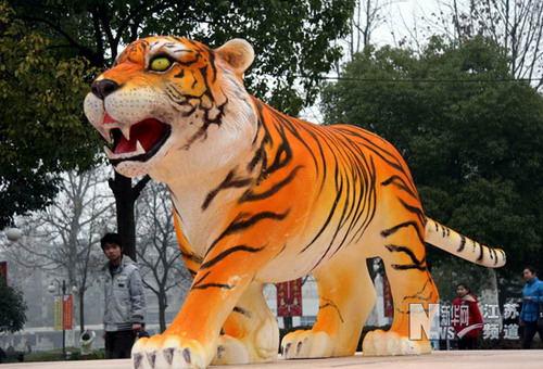 """各式老虎造型的彩灯纷纷亮相南京街头,为城市增添不少虎年""""年味"""""""