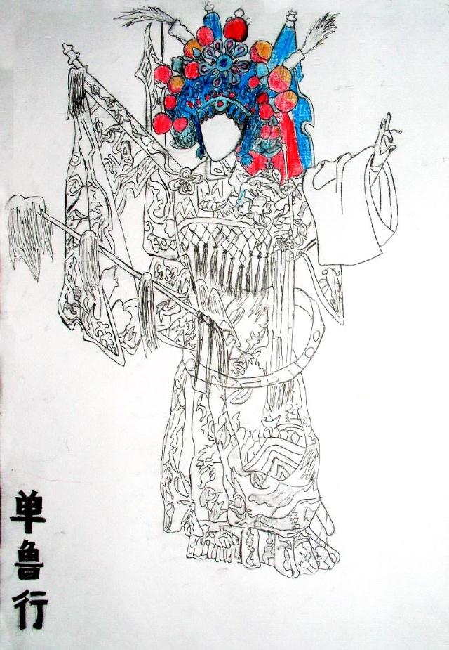戏曲人物铅笔手绘
