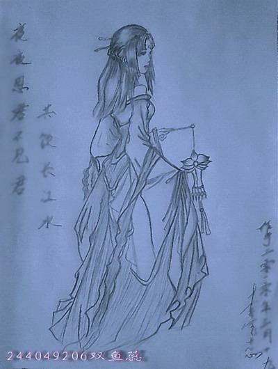 我的铅笔画思君图-九尾狐-搜狐博客