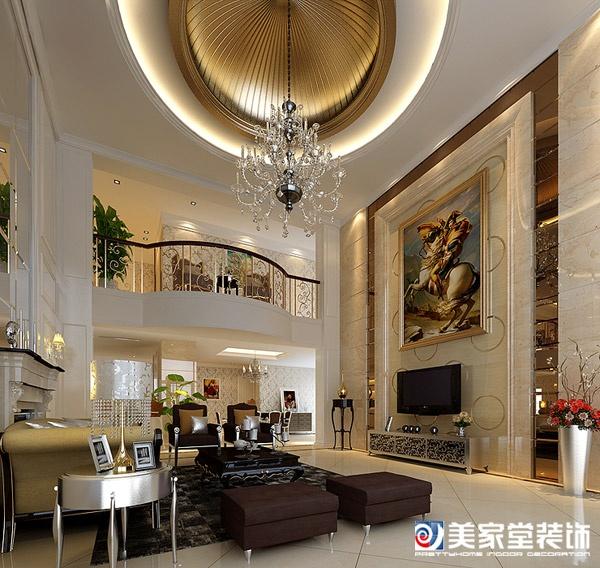 成都别墅装修设计-天鹅湖欧式风格-客厅全景图