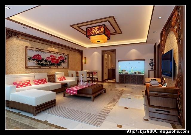 岳峰园90平中式老房翻新--客厅效果图