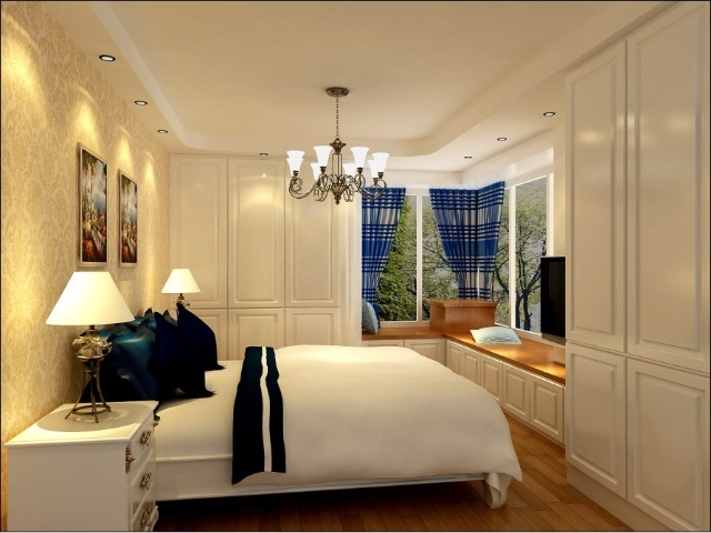 卧室装修效果-君安家园120平米3居室地中海风格和田园风格的完美搭配