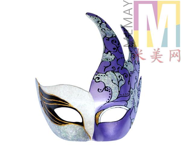 手工彩绘魅惑紫色时尚面具 DIY我最闪耀