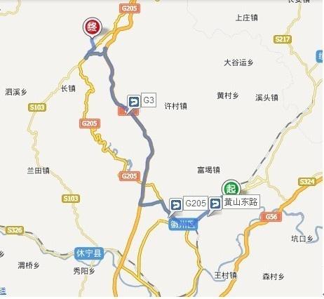 黄山古城歙县至黄山景区南门汤口自驾线路图