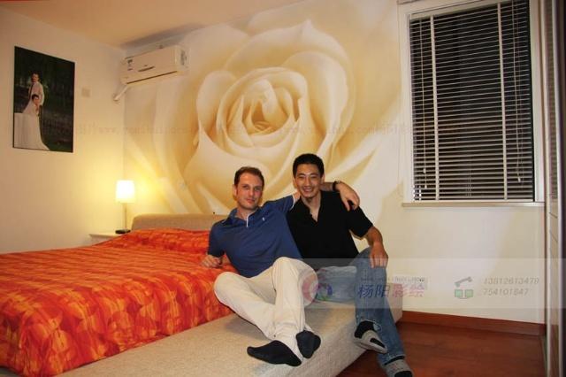 玫瑰花壁画手绘墙-演绎浪漫与优雅