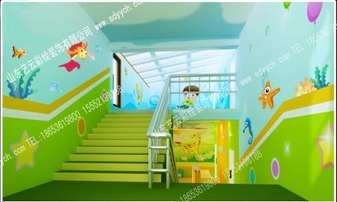幼儿园楼梯间彩绘 幼儿园环境布置