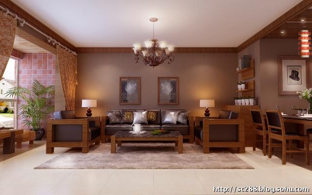 实创装饰 北京风景 a1户型130平米三居室东南亚