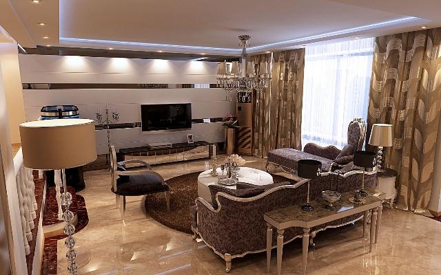 客厅电视背景效果图-现代简约风格与欧式沙发的结合,使整个