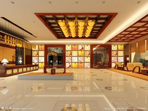 中式酒店大堂室内