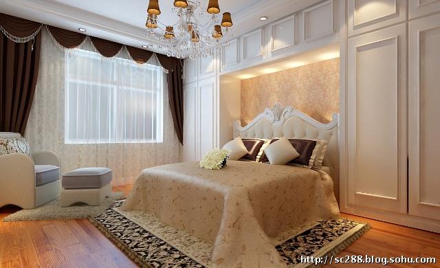 实创装饰别墅装修欧式风格卧室效果图